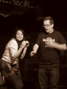 Sarah Dawn Pledge and Bill Taylor perform queer improv at Heaven's Door - Facebook photo