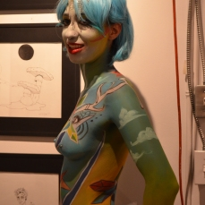 A model shows of Marie-Helene Babin's body art.