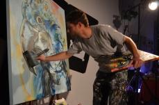 Artist Thibault Sendra live painting.